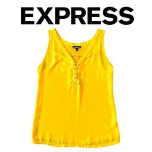 Express Yellow Flowy Lace Up Tank Top